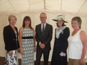 Hazel Wakefield, Director of Business Development, Ellesmere College, Anne Wignall, Headmasters� wife, Andrew Collinge, High Sheriff Anna Turner, Sue Dewhirst Chairperson of the Ellesmere College Parents� Society